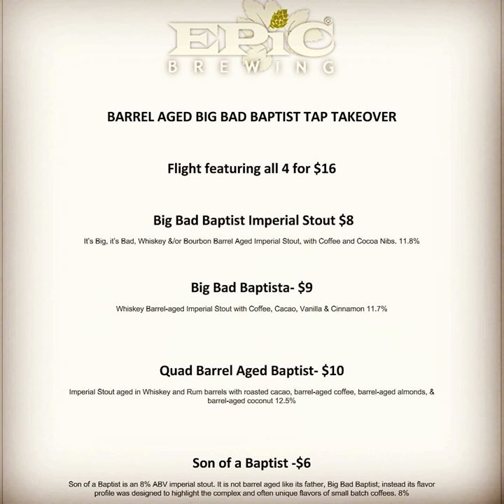 The Baptists are here! Stop in today to get some of these tasty brews…