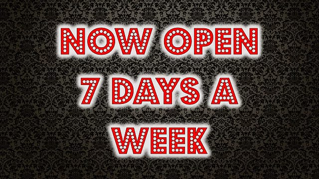 Exciting news…. we are now open 7 days a week! Stop in today for Half Off Hap…